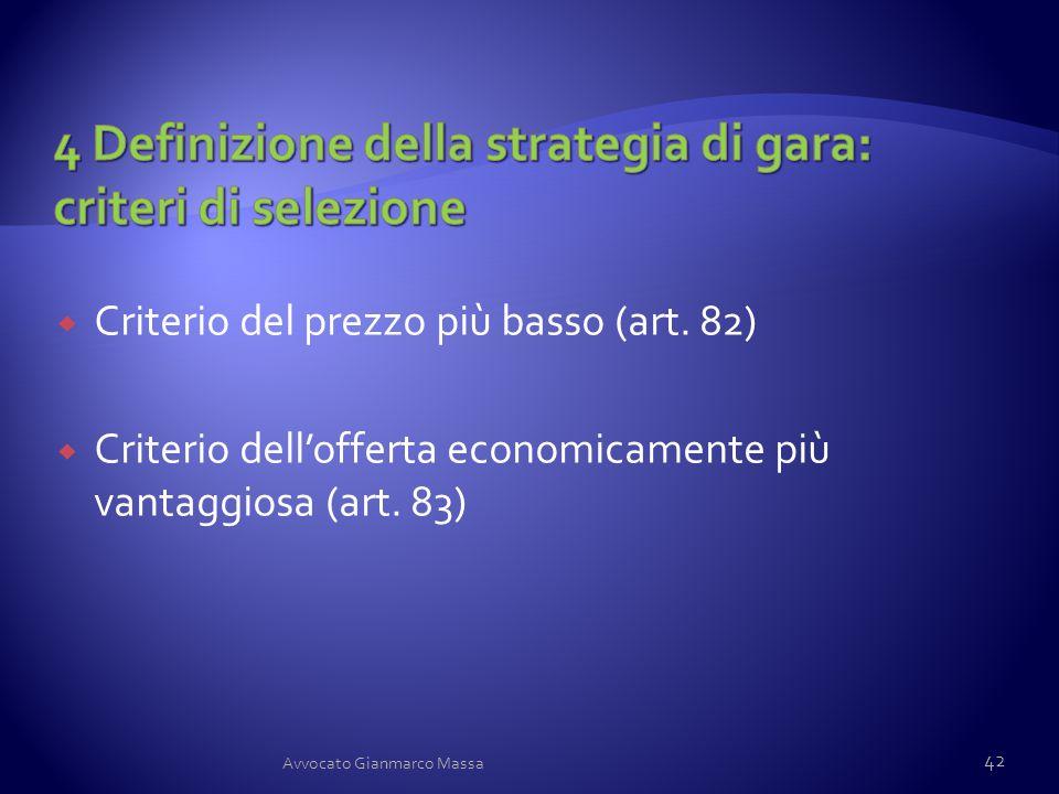  Criterio del prezzo più basso (art. 82)  Criterio dell'offerta economicamente più vantaggiosa (art. 83) 42 Avvocato Gianmarco Massa