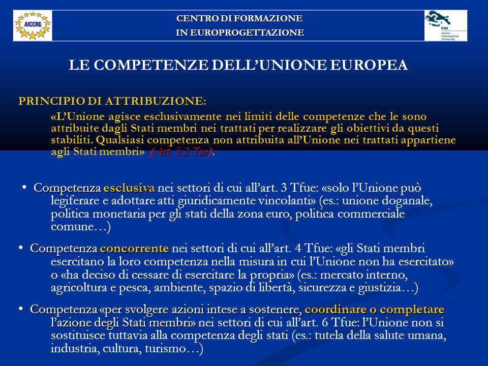 LE COMPETENZE DELL'UNIONE EUROPEA PRINCIPIO DI ATTRIBUZIONE: nei limiti delle competenze che le sono attribuite dagli Stati membri nei trattati per realizzare gli obiettivi da questi stabiliti Art.