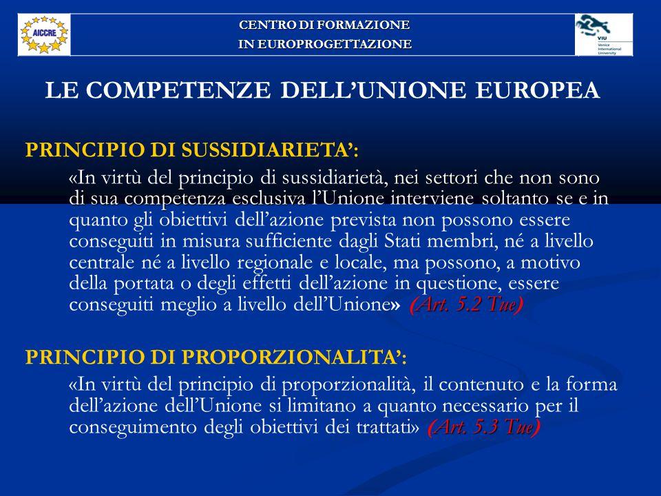LE COMPETENZE DELL'UNIONE EUROPEA PRINCIPIO DI SUSSIDIARIETA': nei settori che non sono di sua competenza esclusiva Art.