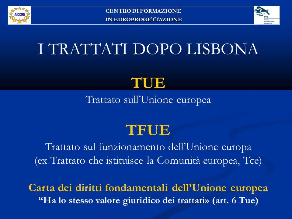 I TRATTATI DOPO LISBONA TUE Trattato sull'Unione europea TFUE Trattato sul funzionamento dell'Unione europa (ex Trattato che istituisce la Comunità europea, Tce) Carta dei diritti fondamentali dell'Unione europea Ha lo stesso valore giuridico dei trattati» (art.