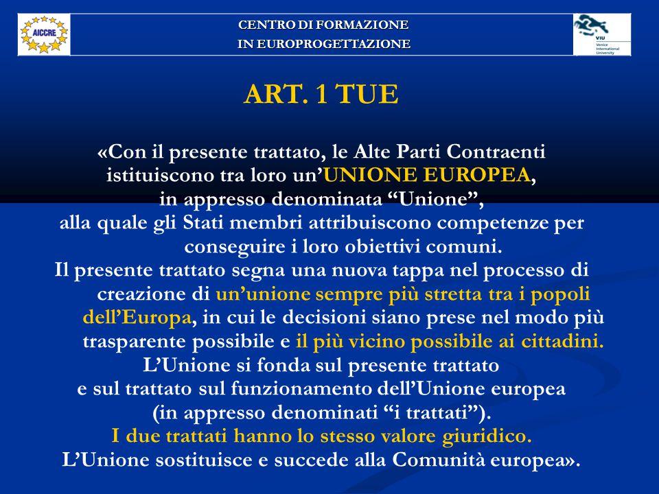 """ART. 1 TUE «Con il presente trattato, le Alte Parti Contraenti istituiscono tra loro un'UNIONE EUROPEA, in appresso denominata """"Unione"""", alla quale gl"""