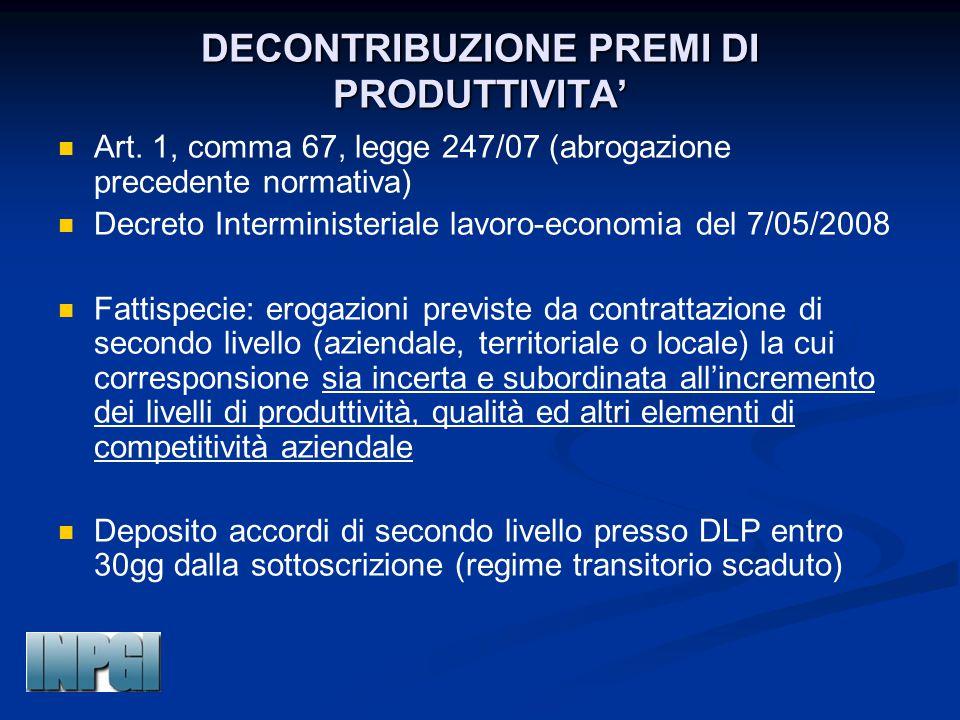 DECONTRIBUZIONE PREMI DI PRODUTTIVITA' Art. 1, comma 67, legge 247/07 (abrogazione precedente normativa) Decreto Interministeriale lavoro-economia del