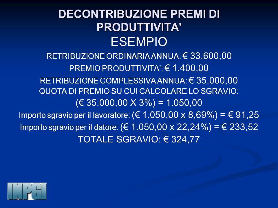 DECONTRIBUZIONE PREMI DI PRODUTTIVITA' ESEMPIO RETRIBUZIONE ORDINARIA ANNUA: € 33.600,00 PREMIO PRODUTTIVITA': € 1.400,00 RETRIBUZIONE COMPLESSIVA ANNUA: € 35.000,00 QUOTA DI PREMIO SU CUI CALCOLARE LO SGRAVIO: (€ 35.000,00 X 3%) = 1.050,00 Importo sgravio per il lavoratore: (€ 1.050,00 x 8,69%) = € 91,25 Importo sgravio per il datore: (€ 1.050,00 x 22,24%) = € 233,52 TOTALE SGRAVIO: € 324,77