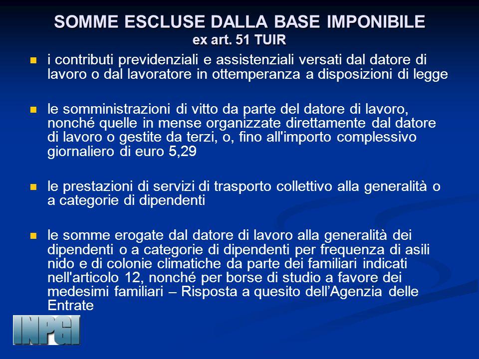 SOMME ESCLUSE DALLA BASE IMPONIBILE ex art. 51 TUIR i contributi previdenziali e assistenziali versati dal datore di lavoro o dal lavoratore in ottemp