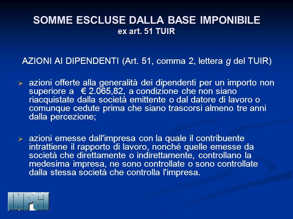 SOMME ESCLUSE DALLA BASE IMPONIBILE ex art. 51 TUIR AZIONI AI DIPENDENTI (Art. 51, comma 2, lettera g del TUIR)   azioni offerte alla generalità dei