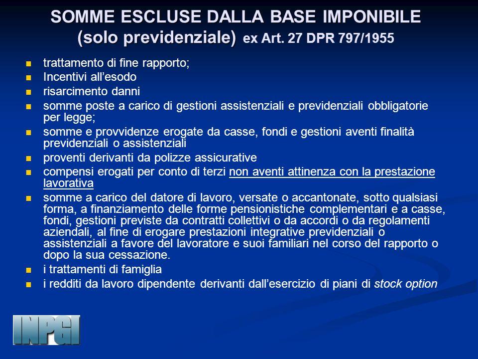 SOMME ESCLUSE DALLA BASE IMPONIBILE (solo previdenziale) SOMME ESCLUSE DALLA BASE IMPONIBILE (solo previdenziale) ex Art.
