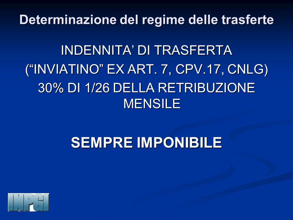 """Determinazione del regime delle trasferte INDENNITA' DI TRASFERTA (""""INVIATINO"""" EX ART. 7, CPV.17, CNLG) 30% DI 1/26 DELLA RETRIBUZIONE MENSILE SEMPRE"""