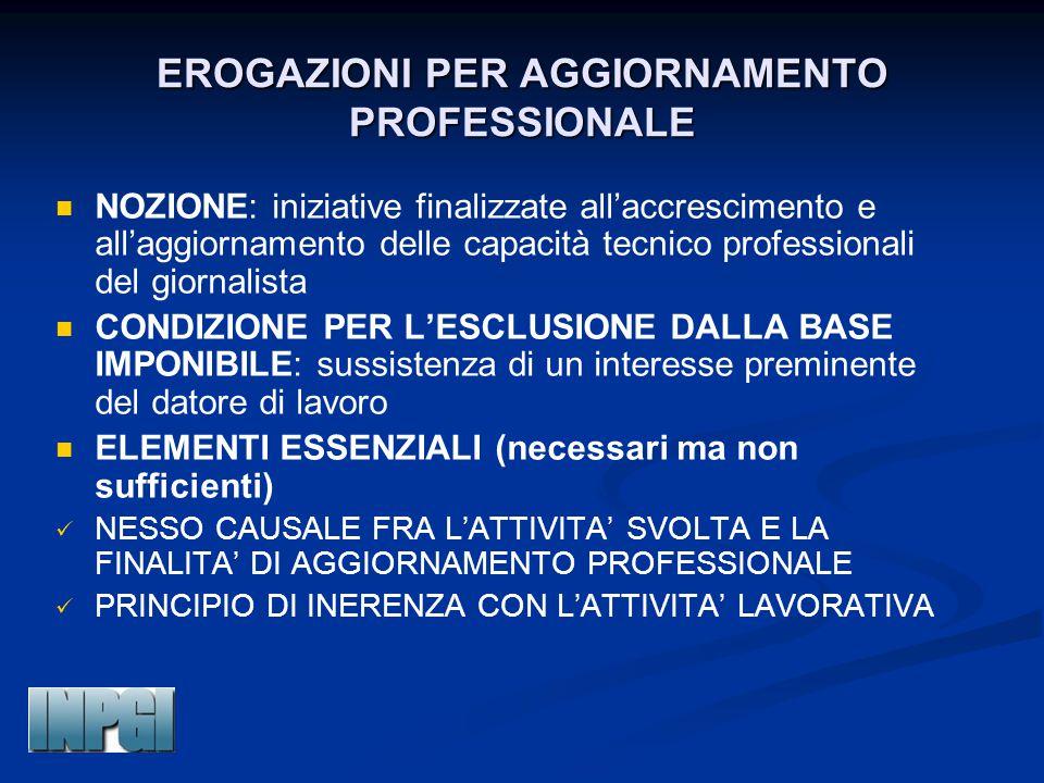 EROGAZIONI PER AGGIORNAMENTO PROFESSIONALE NOZIONE: iniziative finalizzate all'accrescimento e all'aggiornamento delle capacità tecnico professionali