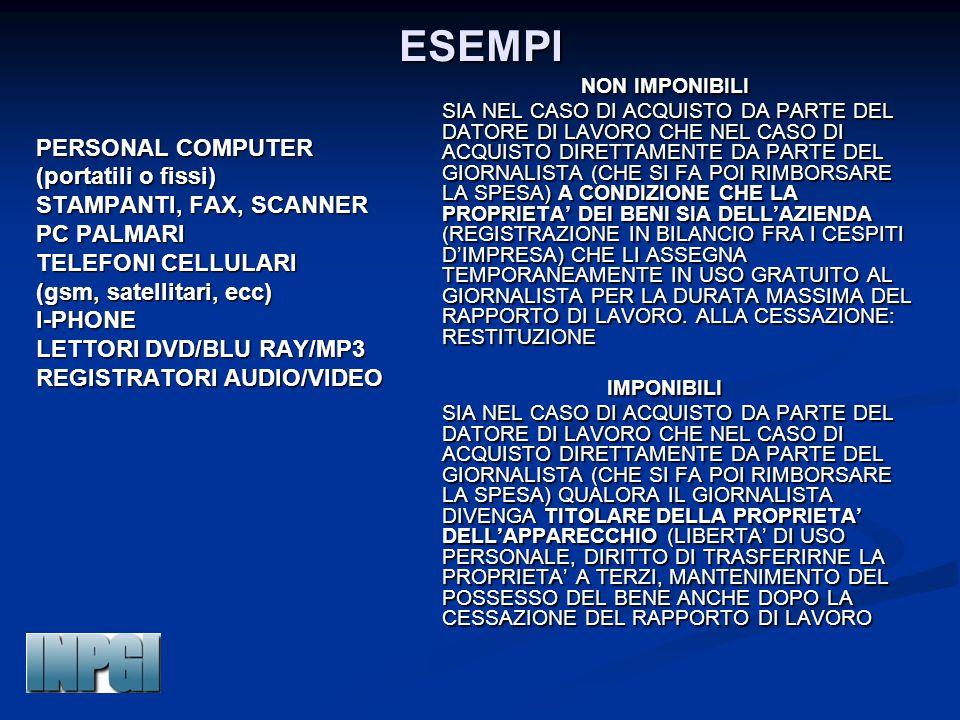 ESEMPI PERSONAL COMPUTER (portatili o fissi) STAMPANTI, FAX, SCANNER PC PALMARI TELEFONI CELLULARI (gsm, satellitari, ecc) I-PHONE LETTORI DVD/BLU RAY