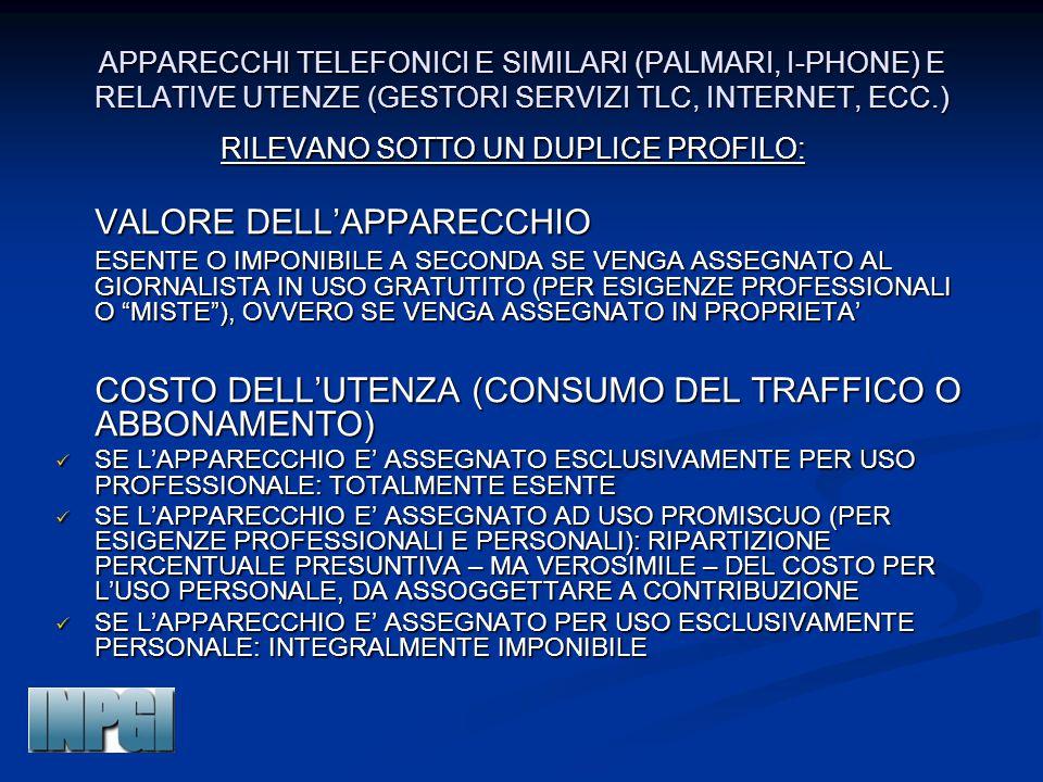 APPARECCHI TELEFONICI E SIMILARI (PALMARI, I-PHONE) E RELATIVE UTENZE (GESTORI SERVIZI TLC, INTERNET, ECC.) RILEVANO SOTTO UN DUPLICE PROFILO: VALORE