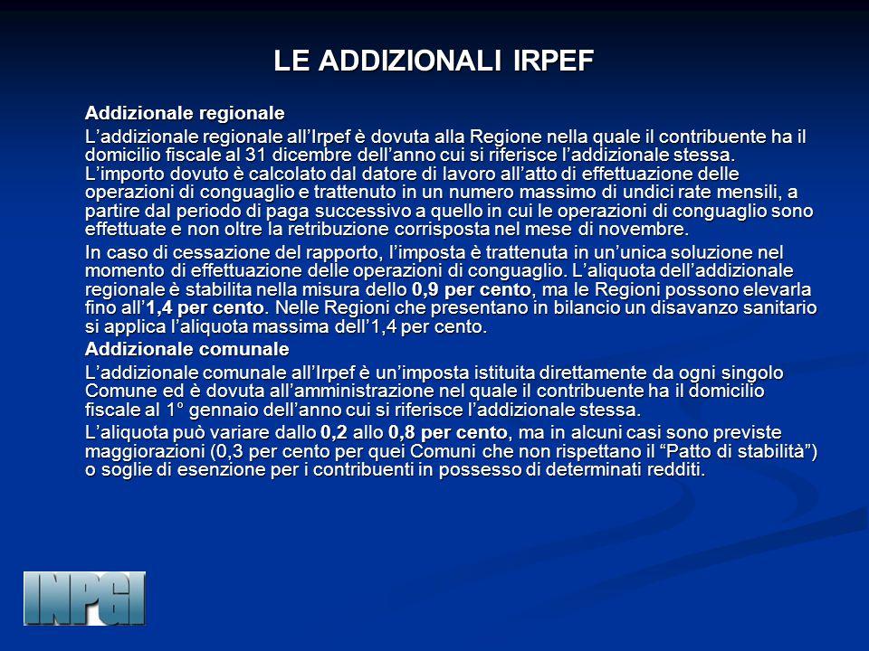 LE ADDIZIONALI IRPEF Addizionale regionale Addizionale regionale L'addizionale regionale all'Irpef è dovuta alla Regione nella quale il contribuente ha il domicilio fiscale al 31 dicembre dell'anno cui si riferisce l'addizionale stessa.