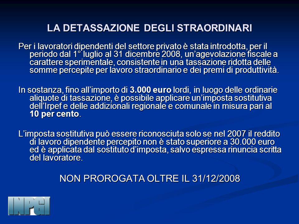 LA DETASSAZIONE DEGLI STRAORDINARI Per i lavoratori dipendenti del settore privato è stata introdotta, per il periodo dal 1° luglio al 31 dicembre 200