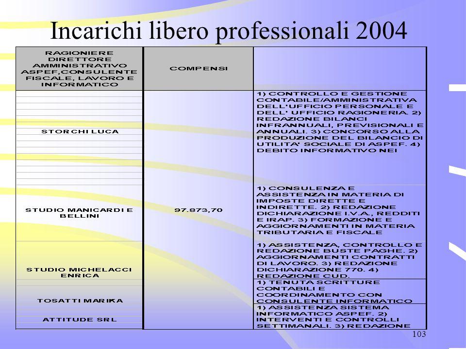 103 Incarichi libero professionali 2004