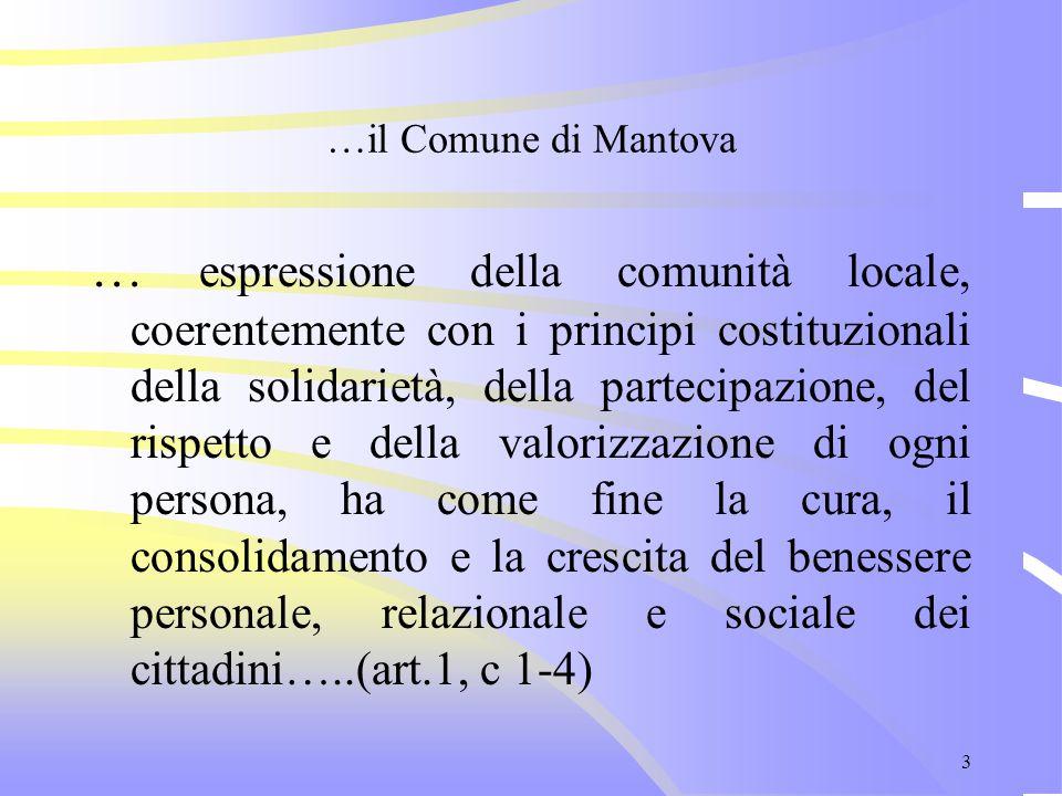 3 …il Comune di Mantova … espressione della comunità locale, coerentemente con i principi costituzionali della solidarietà, della partecipazione, del