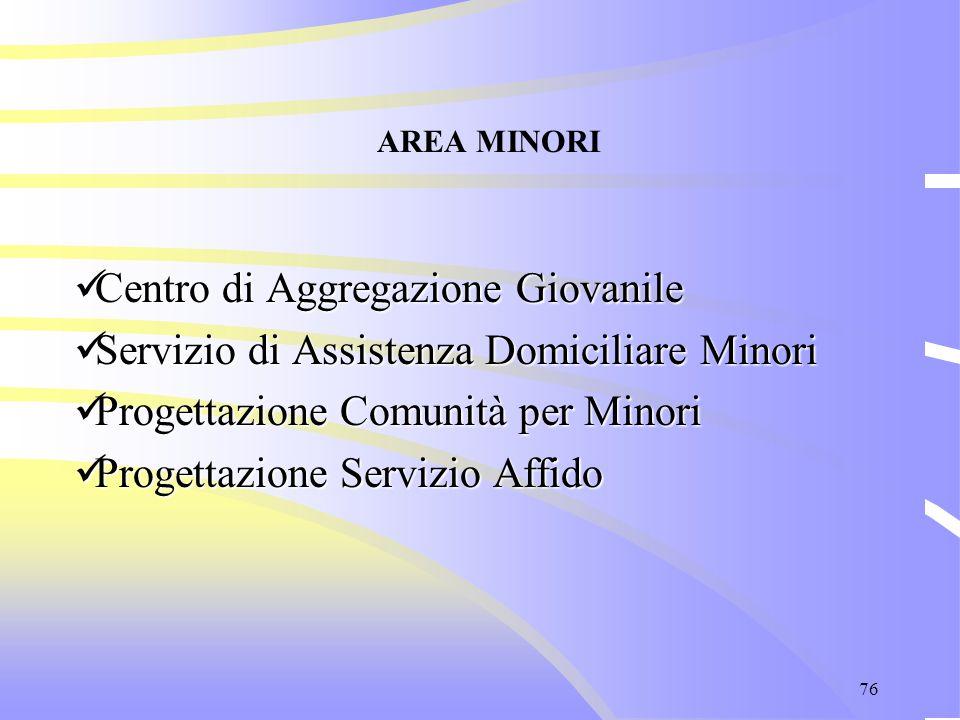76 AREA MINORI Centro di Aggregazione Giovanile Centro di Aggregazione Giovanile Servizio di Assistenza Domiciliare Minori Servizio di Assistenza Domi
