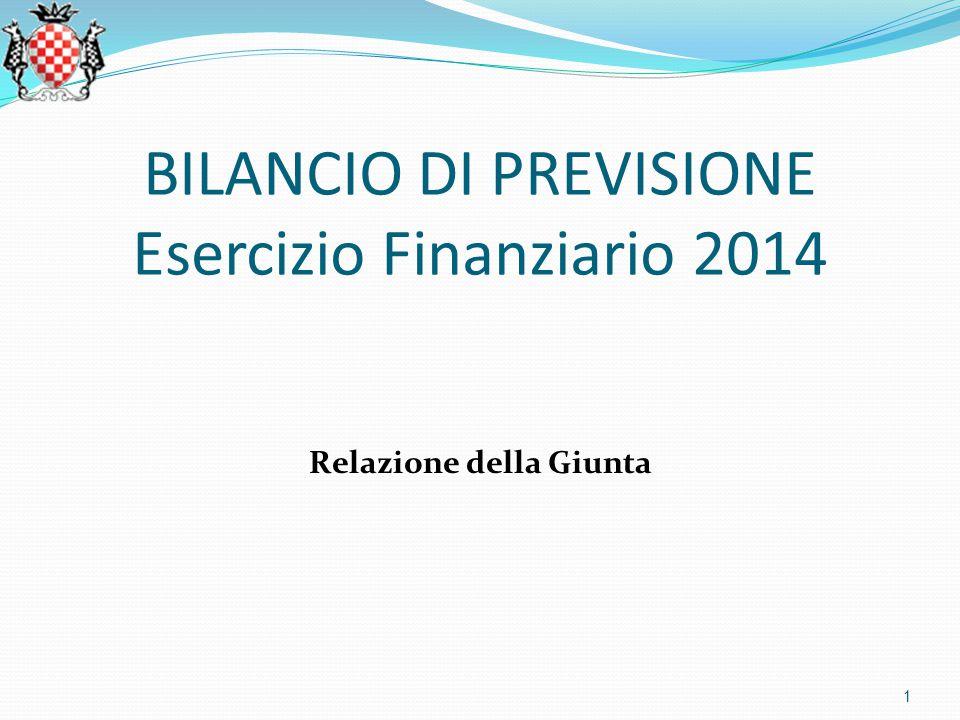 BILANCIO DI PREVISIONE Esercizio Finanziario 2014 Relazione della Giunta 1