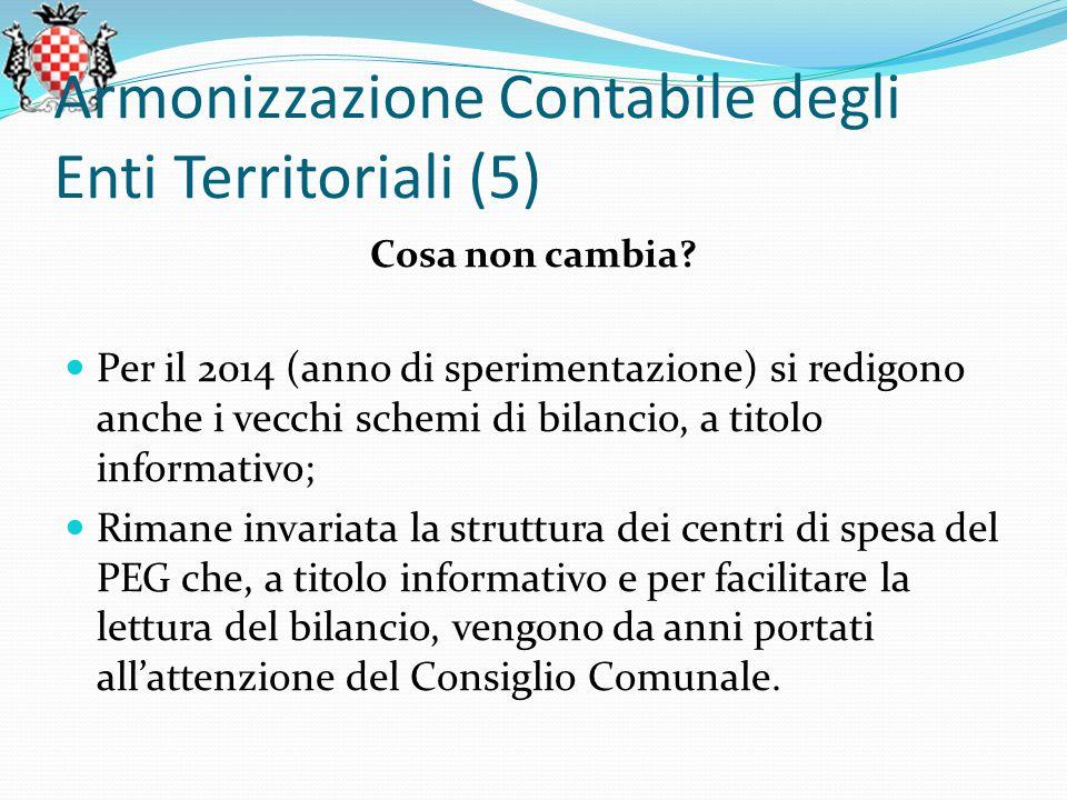 Armonizzazione Contabile degli Enti Territoriali (5) Cosa non cambia.