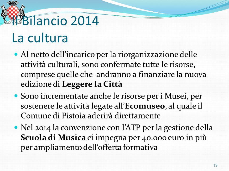 Il Bilancio 2014 La cultura Al netto dell'incarico per la riorganizzazione delle attività culturali, sono confermate tutte le risorse, comprese quelle che andranno a finanziare la nuova edizione di Leggere la Città Sono incrementate anche le risorse per i Musei, per sostenere le attività legate all'Ecomuseo, al quale il Comune di Pistoia aderirà direttamente Nel 2014 la convenzione con l'ATP per la gestione della Scuola di Musica ci impegna per 40.000 euro in più per ampliamento dell'offerta formativa 19