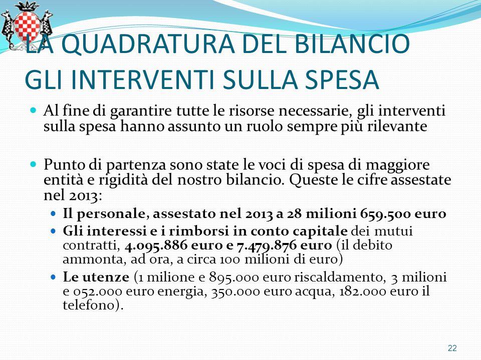 LA QUADRATURA DEL BILANCIO GLI INTERVENTI SULLA SPESA Al fine di garantire tutte le risorse necessarie, gli interventi sulla spesa hanno assunto un ruolo sempre più rilevante Punto di partenza sono state le voci di spesa di maggiore entità e rigidità del nostro bilancio.