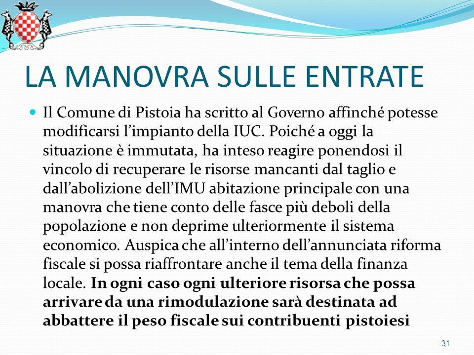 LA MANOVRA SULLE ENTRATE Il Comune di Pistoia ha scritto al Governo affinché potesse modificarsi l'impianto della IUC.
