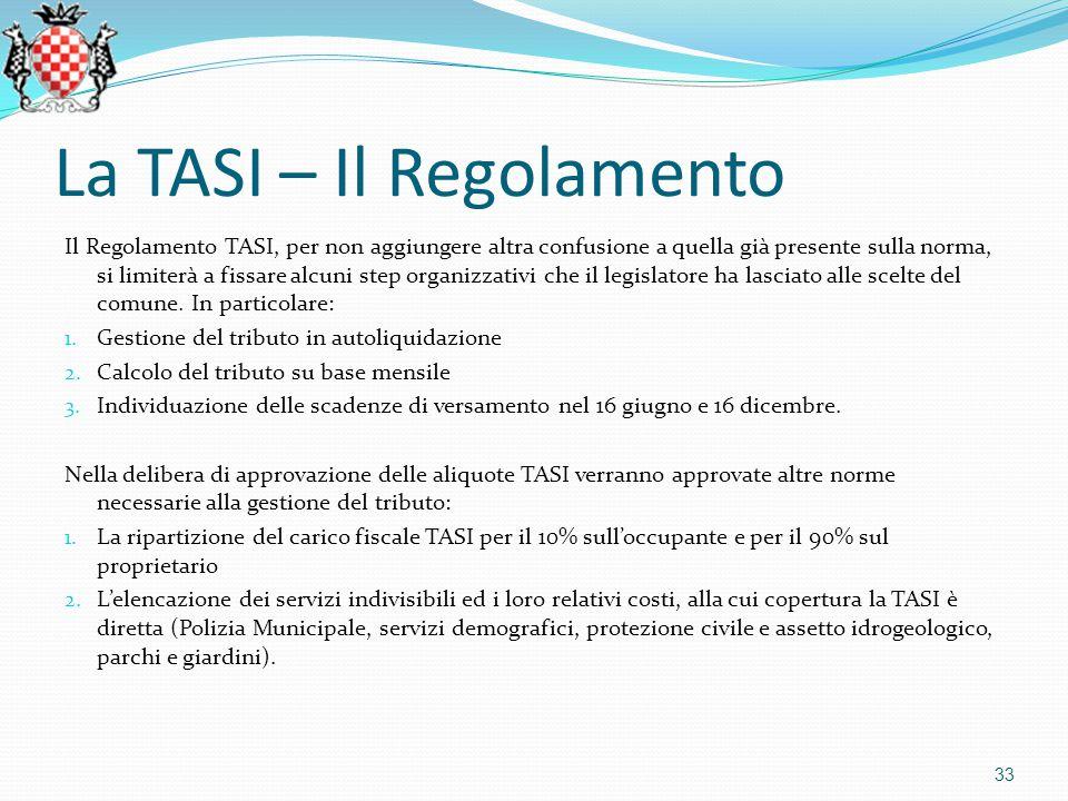 La TASI – Il Regolamento Il Regolamento TASI, per non aggiungere altra confusione a quella già presente sulla norma, si limiterà a fissare alcuni step organizzativi che il legislatore ha lasciato alle scelte del comune.