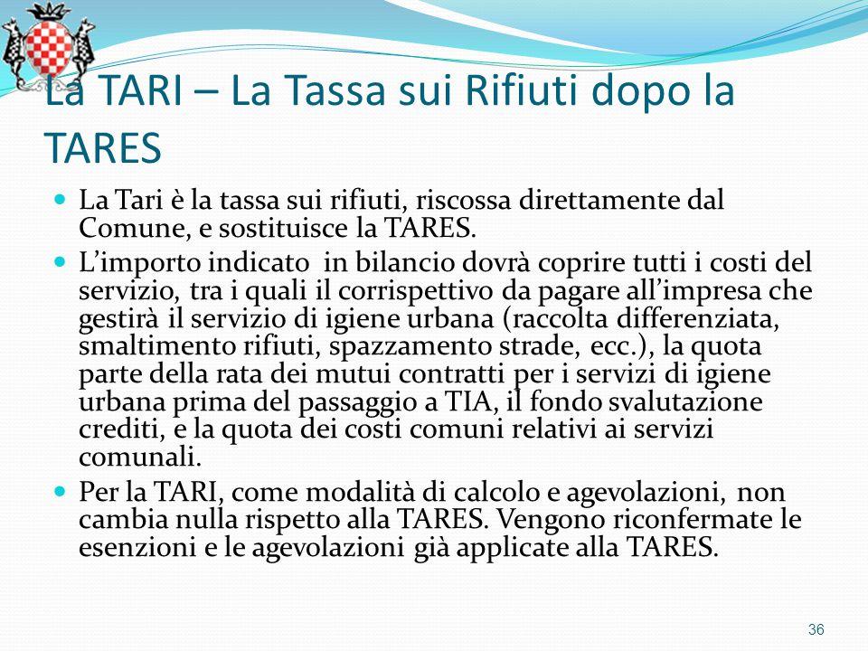 La TARI – La Tassa sui Rifiuti dopo la TARES 36 La Tari è la tassa sui rifiuti, riscossa direttamente dal Comune, e sostituisce la TARES.