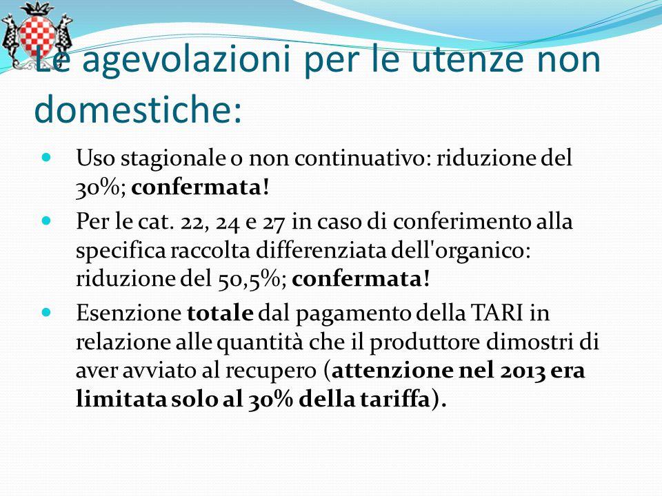 Le agevolazioni per le utenze non domestiche: Uso stagionale o non continuativo: riduzione del 30%; confermata.