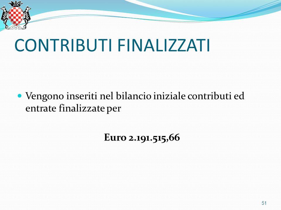 CONTRIBUTI FINALIZZATI Vengono inseriti nel bilancio iniziale contributi ed entrate finalizzate per Euro 2.191.515,66 51