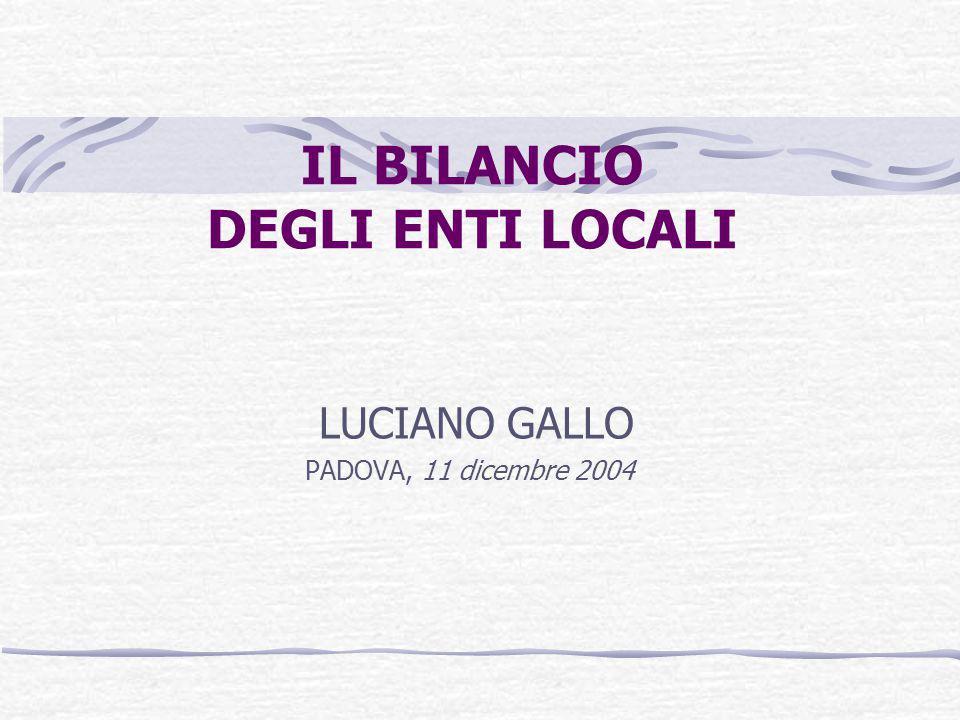 IL BILANCIO DEGLI ENTI LOCALI LUCIANO GALLO PADOVA, 11 dicembre 2004