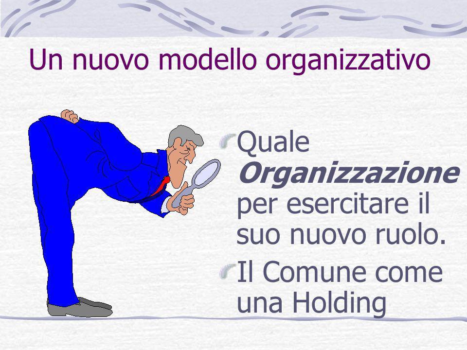 Un nuovo modello organizzativo Quale Organizzazione per esercitare il suo nuovo ruolo. Il Comune come una Holding