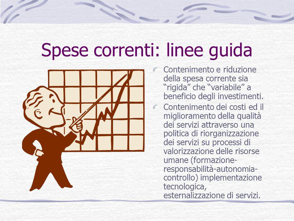 """Spese correnti: linee guida Contenimento e riduzione della spesa corrente sia """"rigida"""" che """"variabile"""" a beneficio degli investimenti. Contenimento de"""