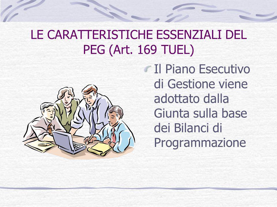 LE CARATTERISTICHE ESSENZIALI DEL PEG (Art. 169 TUEL) Il Piano Esecutivo di Gestione viene adottato dalla Giunta sulla base dei Bilanci di Programmazi