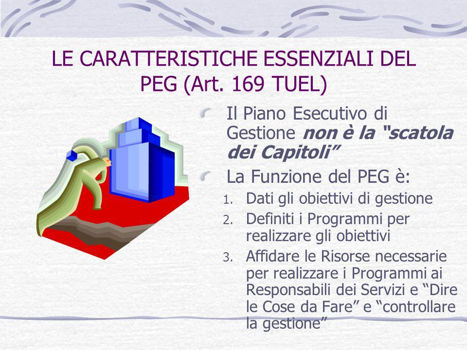 """LE CARATTERISTICHE ESSENZIALI DEL PEG (Art. 169 TUEL) Il Piano Esecutivo di Gestione non è la """"scatola dei Capitoli"""" La Funzione del PEG è: 1. Dati gl"""