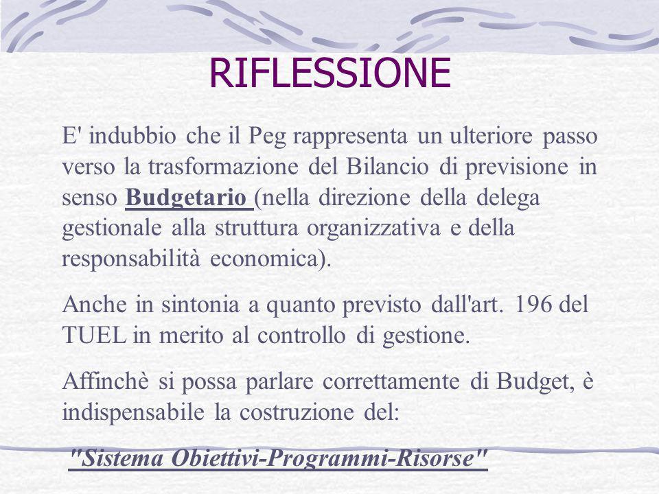 RIFLESSIONE E' indubbio che il Peg rappresenta un ulteriore passo verso la trasformazione del Bilancio di previsione in senso Budgetario (nella direzi