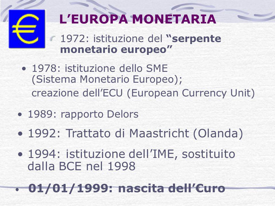 """L'EUROPA MONETARIA 1972: istituzione del """"serpente monetario europeo"""" 1978: istituzione dello SME (Sistema Monetario Europeo); creazione dell'ECU (Eur"""