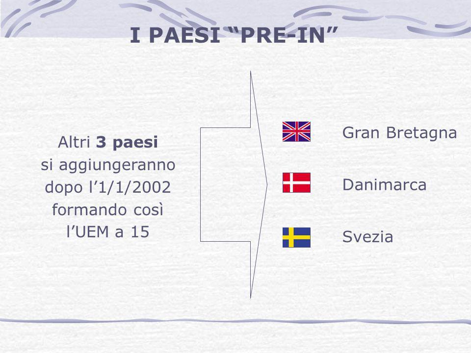 """Gran Bretagna Danimarca Svezia I PAESI """"PRE-IN"""" Altri 3 paesi si aggiungeranno dopo l'1/1/2002 formando così l'UEM a 15"""