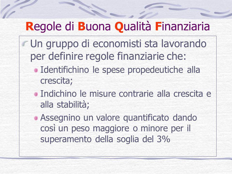 Regole di Buona Qualità Finanziaria Un gruppo di economisti sta lavorando per definire regole finanziarie che: Identifichino le spese propedeutiche al