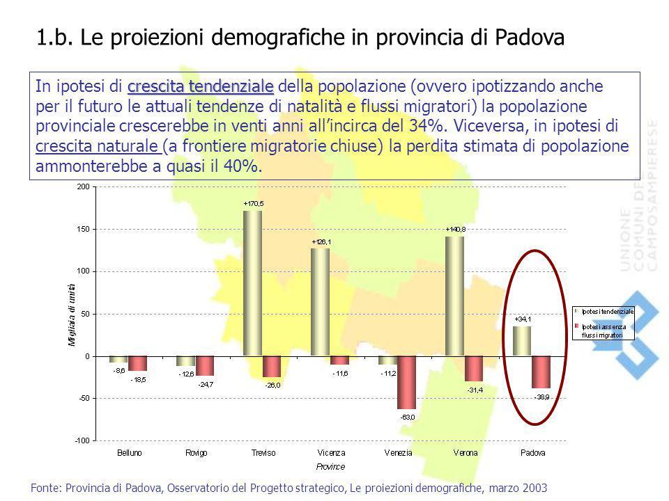 1.b. Le proiezioni demografiche in provincia di Padova crescita tendenziale In ipotesi di crescita tendenziale della popolazione (ovvero ipotizzando a