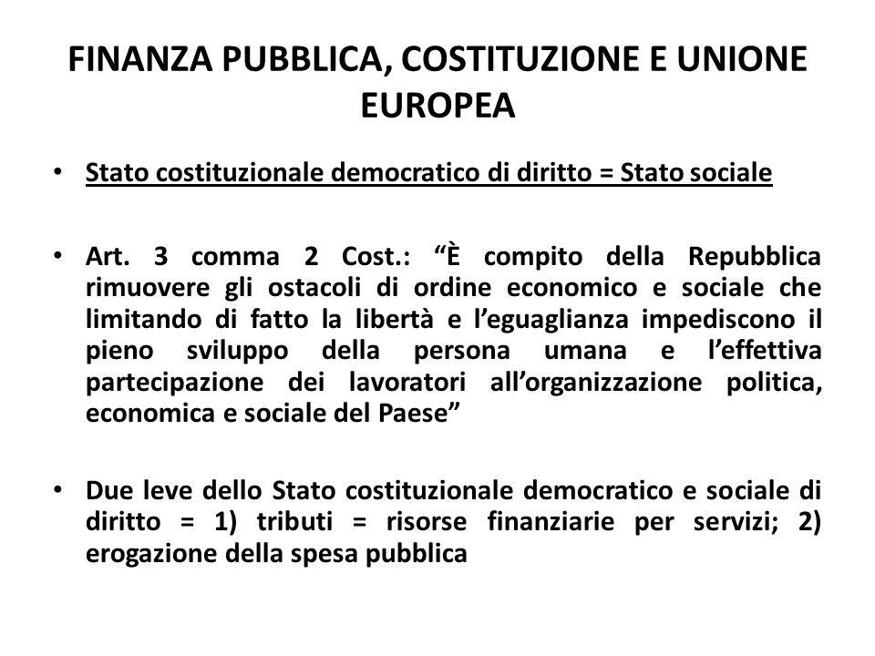 """FINANZA PUBBLICA, COSTITUZIONE E UNIONE EUROPEA Stato costituzionale democratico di diritto = Stato sociale Art. 3 comma 2 Cost.: """"È compito della Rep"""