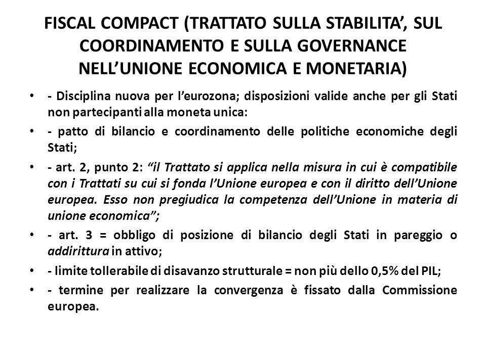 FISCAL COMPACT (TRATTATO SULLA STABILITA', SUL COORDINAMENTO E SULLA GOVERNANCE NELL'UNIONE ECONOMICA E MONETARIA) - Disciplina nuova per l'eurozona;