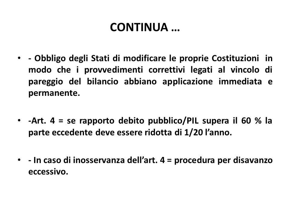 CONTINUA … - Obbligo degli Stati di modificare le proprie Costituzioni in modo che i provvedimenti correttivi legati al vincolo di pareggio del bilanc