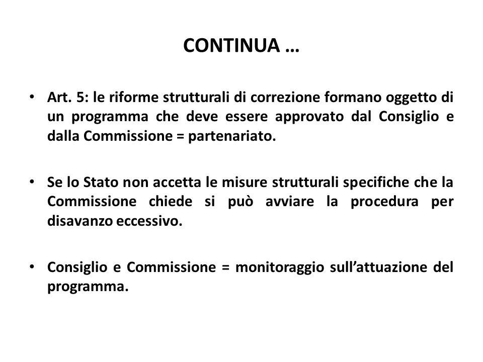 CONTINUA … Art. 5: le riforme strutturali di correzione formano oggetto di un programma che deve essere approvato dal Consiglio e dalla Commissione =