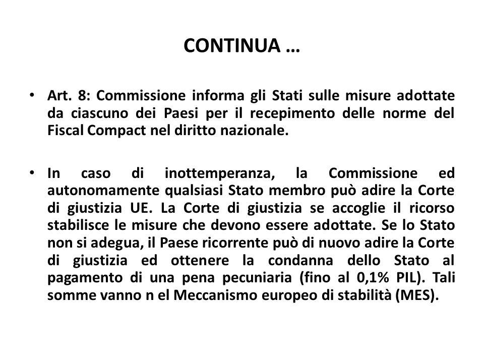 CONTINUA … Art. 8: Commissione informa gli Stati sulle misure adottate da ciascuno dei Paesi per il recepimento delle norme del Fiscal Compact nel dir
