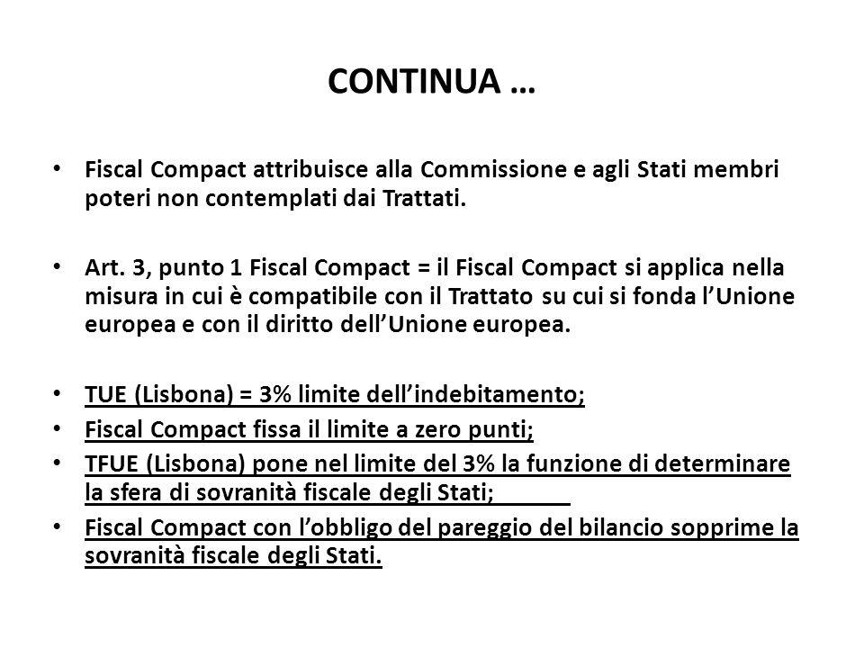 CONTINUA … Fiscal Compact attribuisce alla Commissione e agli Stati membri poteri non contemplati dai Trattati. Art. 3, punto 1 Fiscal Compact = il Fi