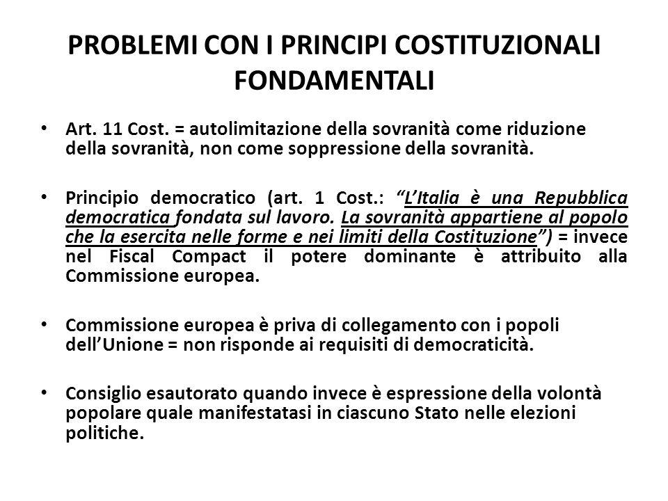 PROBLEMI CON I PRINCIPI COSTITUZIONALI FONDAMENTALI Art. 11 Cost. = autolimitazione della sovranità come riduzione della sovranità, non come soppressi