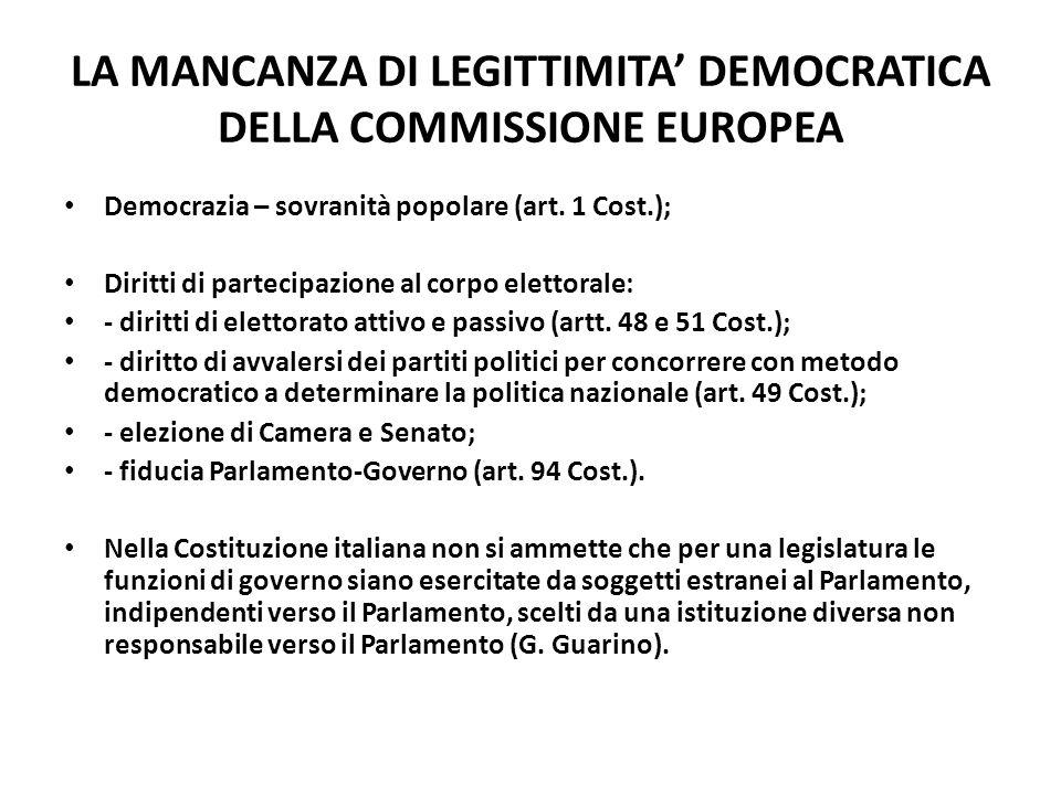 LA MANCANZA DI LEGITTIMITA' DEMOCRATICA DELLA COMMISSIONE EUROPEA Democrazia – sovranità popolare (art. 1 Cost.); Diritti di partecipazione al corpo e