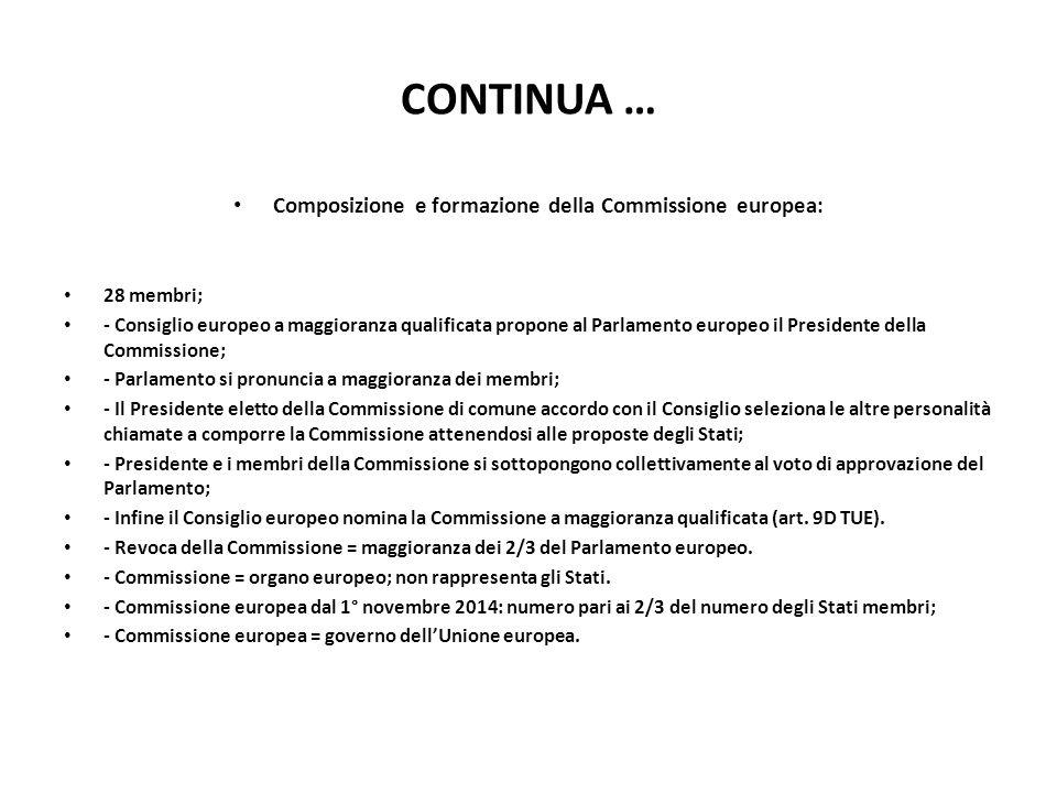 CONTINUA … Composizione e formazione della Commissione europea: 28 membri; - Consiglio europeo a maggioranza qualificata propone al Parlamento europeo