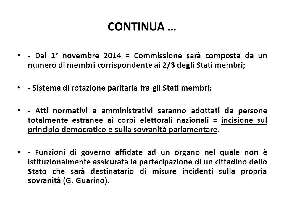 CONTINUA … - Dal 1° novembre 2014 = Commissione sarà composta da un numero di membri corrispondente ai 2/3 degli Stati membri; - Sistema di rotazione