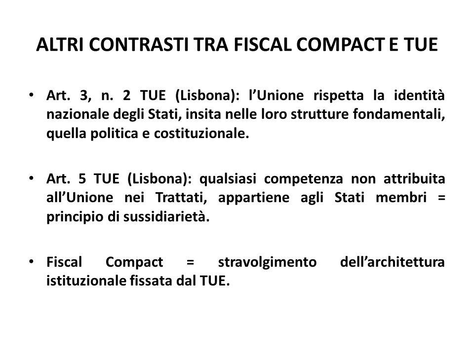 ALTRI CONTRASTI TRA FISCAL COMPACT E TUE Art. 3, n. 2 TUE (Lisbona): l'Unione rispetta la identità nazionale degli Stati, insita nelle loro strutture