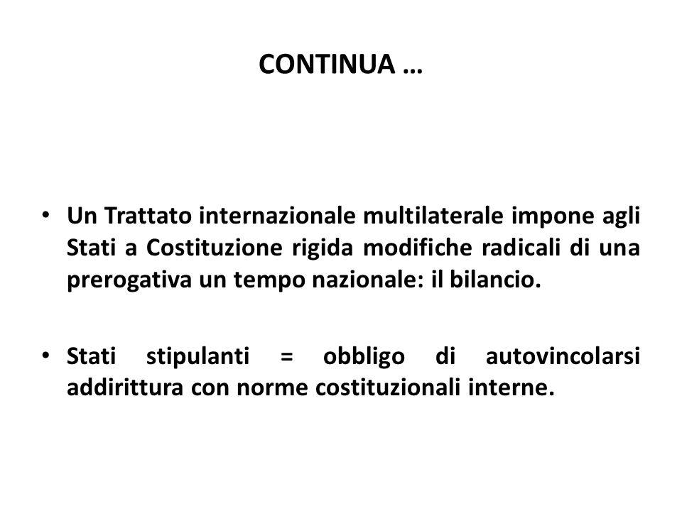 CONTINUA … Un Trattato internazionale multilaterale impone agli Stati a Costituzione rigida modifiche radicali di una prerogativa un tempo nazionale: